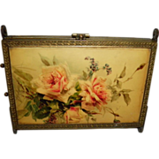 REDUCED Antique Victorian Enamel Trifold / 3 Panel Vanity Mirror