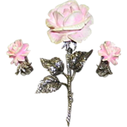 Vintage Sterling Silver Marcasite Pink Rose Carved Pin / Brooch & Earrings Germany