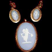 REDUCED Vintage Wedgwood Jasperware Cameo Van Dell 12k Gold Filled Brooch Pendant Pin & ..