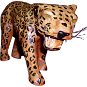 Vintage Leather Over Paper Mache Leopard figure With Yellow Eyes