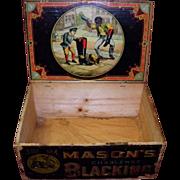 Antique Mason's Challenge Blacking Shoe Polish Wooden Box Black Americana