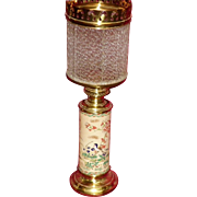 REDUCED 19th Century Oriental Vase Oil Lamp With Ribbed Glass Shade