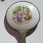 Antique Victorian decorative Ladies Cherubs porcelain bronze hand mirror