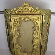 Antique German Rococo doll house miniature Elegant gilt painted pewter Armoire