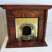 Large antique brass fireplace Wood surround