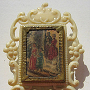 White antique miniature doll house picture celluloid frame