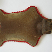 Antique doll house miniature animal rug