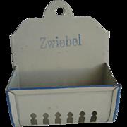 Antique German kitchen shop miniature tin Zwiebel