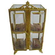 Antique French ormolu miniature display beveled glass vitrine on decorative legs