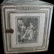 Antique Tin litho Victorian Schepp's Cake Box