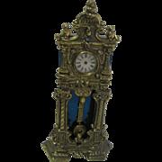Antique German miniature dollhouse metal decorative Grandfather clock