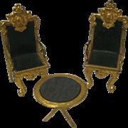 Unusual antique miniature ornate ormolu chairs leather seat set
