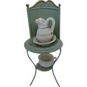 Antique doll house miniature tin wash stand
