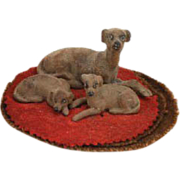Antique dogs on a rug Set of 3