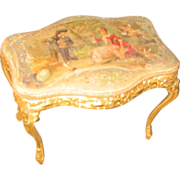 Antique French miniature dollhouse silk table decorative ormolu