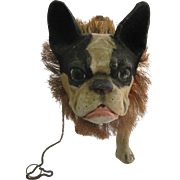 SOLD Antique French Paper Mache Pull Toy small Bulldog