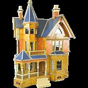 Antique GOTTSCHALK large exceptional BLUE ROOF DOLLHOUSE