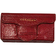 Antique Sewing Red leather needle case in the form of a miniature book