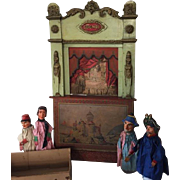 SOLD Antique Guignol French toy theater with puppets