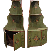 Pair of antique French Provincial polychrome decorated corner wall cabinets