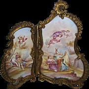 Antique Viennese Austrian miniature Enamel & Bronze double screen