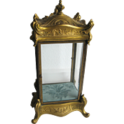 Antique cast bronze ornate ormolu glass display case