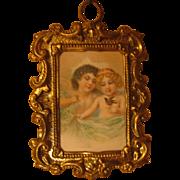 Antique Doll House miniature German cherub picture
