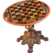 Antique DOLL GAME CHESS Tilt Table Cast Iron Claw Feet c1800s