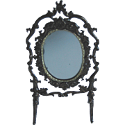 Antique DOLL Miniature German soft metal ornate mirror