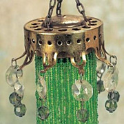 Antique German miniature doll house gilt metal beaded green crystal chandelier