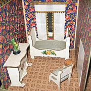 Antique Gottschalk French miniature dollhouse 2 room roombox c1910