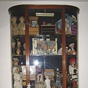 Antique American mahogany bowed glass vitrine display case cabinet
