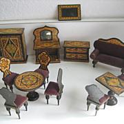 Antique miniature German dollhouse paper litho furniture