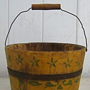 Antique child's stenciled Good Girl Shaker staved wood pail bucket stars