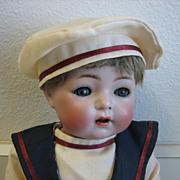 "Simon & Halbig #121 14"" antique bisque head doll, bent knee Sailor"