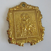 Antique German Ormolu 2 sided holder doll house miniature tintype picture