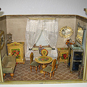 Antique miniature German Gottschalk doll house room box paper litho floral furniture
