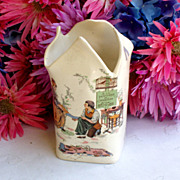 Child's antique French Sarreguemines Cinderella Vase