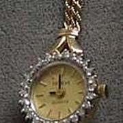 Geneve Quartz 14K Ladies diamond petite watch