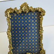 Antique gilt metal with glass decorative picture frame