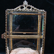 Antique French Miniature Cabinet Gilt Brass Beveled Glass jewelry casket dollhouse Vitrine