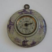 Antique tin litho German miniature doll house clock