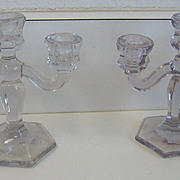Antique Heisey miniature glass candleholders