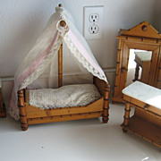 Antique doll toy miniature furniture French Faux bamboo bedroom set