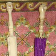 Antique doll miniature bone parasol umbrella sewing needle pin holder