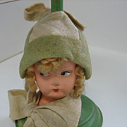 Antique German paper mache head hat stand unusual 2 tone green & white with Flirty eyes