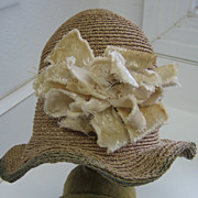 Antique doll Cloche hat natural with blue trim