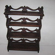 Antique miniature tiered mahogany shelf