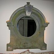 Antique French Zinc Bulls eye Paris architectural Window Mirror