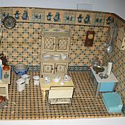 Antique German Delft kitchen miniature doll house Room Box Gottschalk furniture